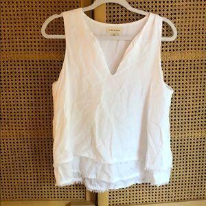 Pretty white cloth & stone tank blouse